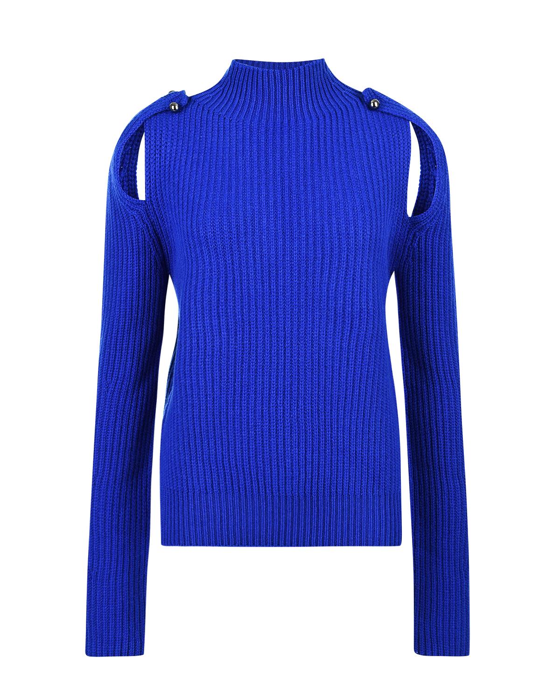 Джемпер из шерсти и кашемира с вырезами на рукавах MRZ, Синий, 70%шерсть+30%кашемир  - купить со скидкой