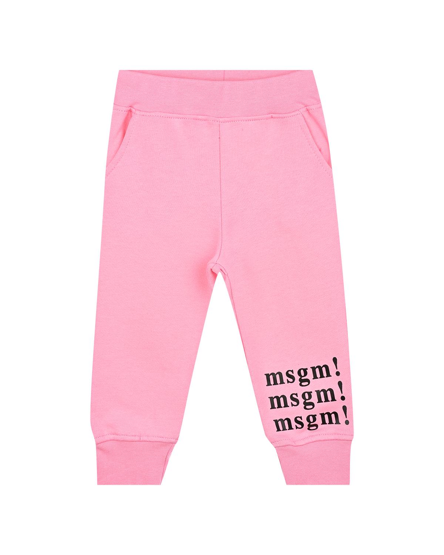 Розовые спортивные брюки с логотипом MSGM детские фото