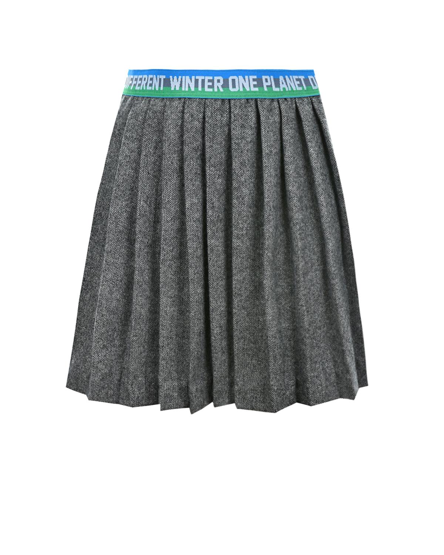 Купить Серая плиссированная юбка из смеси шерсти и кашемира #MUMOFSIX детская, Серый, 80%шерсть+20%кашемир