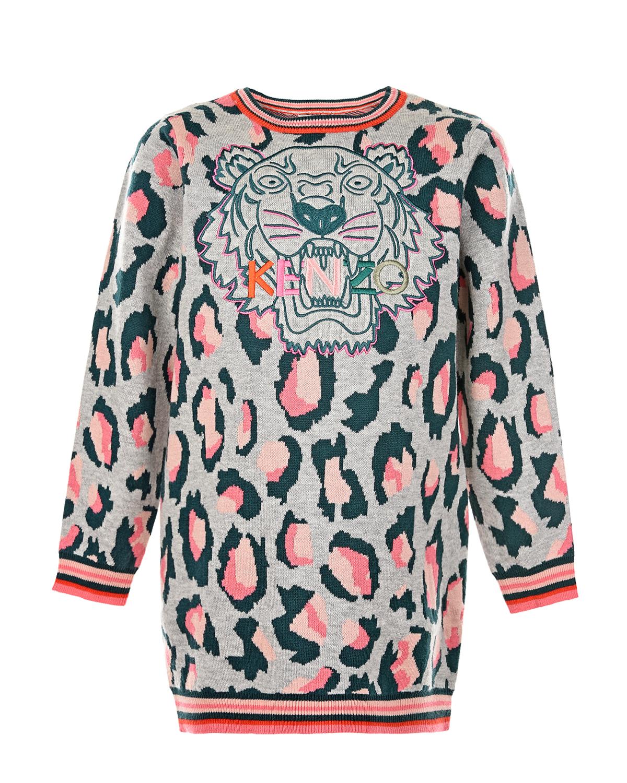 Платье-толстовка с контрастной отделкой KENZO детское, Серый, 57%хлопок+26%вискоза+11%нейлон+6%шерсть  - купить со скидкой