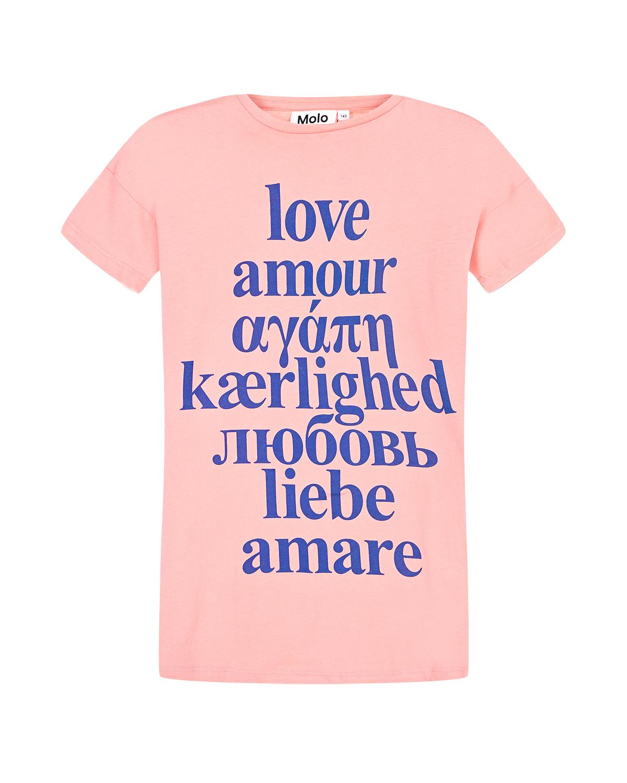 """Розовая футболка с принтом """"любовь"""" Molo детская фото"""