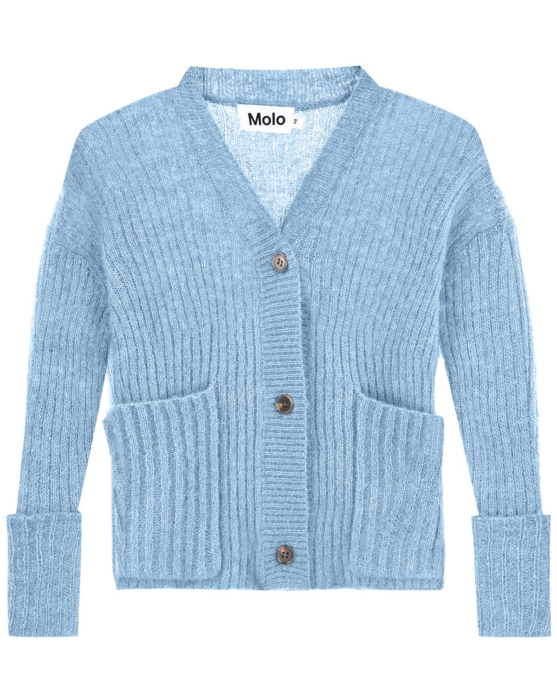 Купить со скидкой Голубой кардиган из смесовой шерсти Molo детский