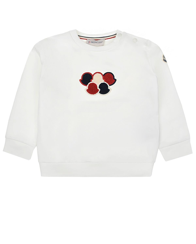 Белый свитшот с логотипом Moncler детский фото