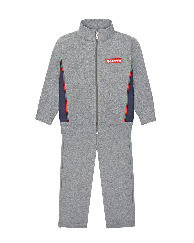 Серый спортивный костюм из толстовки и брюк Moncler детский фото