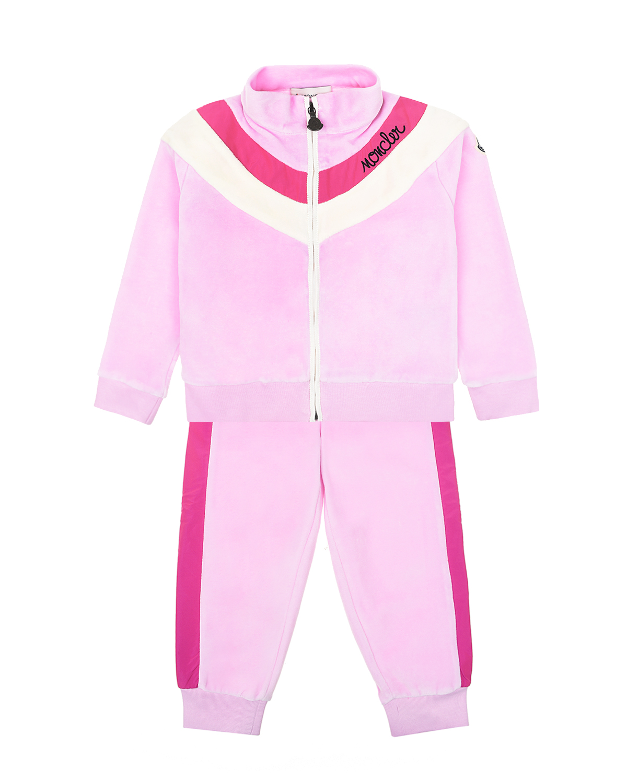 Купить Розовый спортивный костюм из велюра Moncler детский, 88%хлопок+12%полиэстер, 100%полиэстер, 95%хлопок+5%эластан