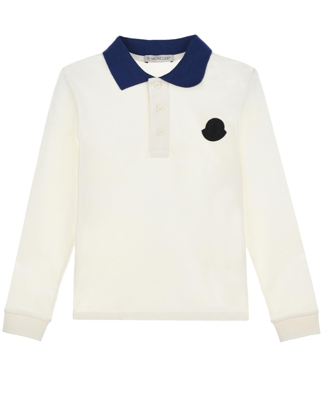 Белая толстовка-поло с контрастным воротником Moncler детская фото