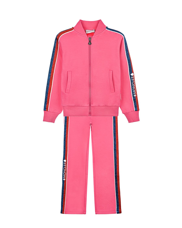 Купить Розовый спортивный костюм Moncler детский, 95%хлопок+5%эластан, 100%полиэстер