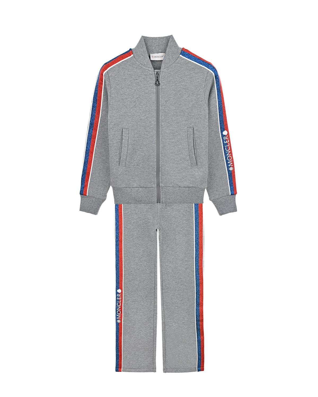 Серый спортивный костюм Moncler детский фото
