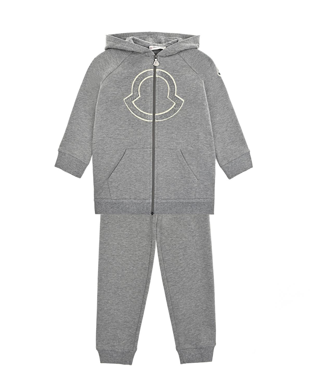 Купить Серый спортивный костюм с крупным логотипом Moncler детский, 95%хлопок+5%эластан, 100%хлопок, 100%полиэстер