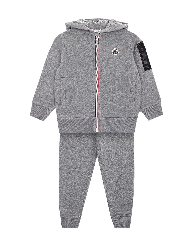Купить Серый спортивный костюм из хлопка Moncler детский, 100%хлопок, 100%полиамид