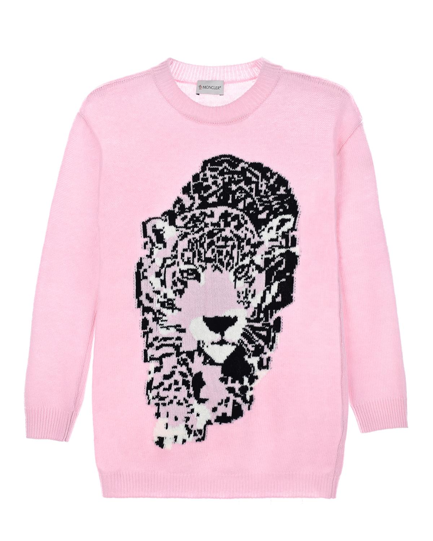 """Розовая туника из шерсти с декором """"леопард"""" Moncler детская фото"""