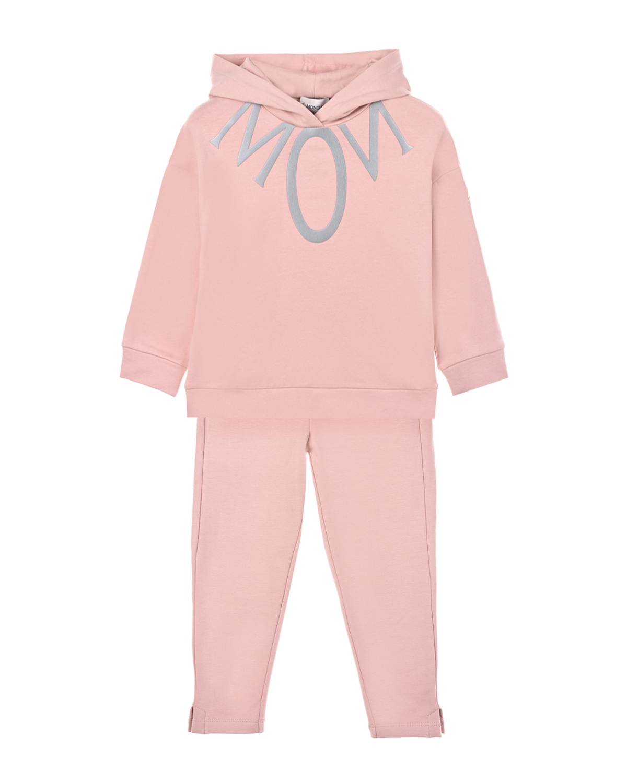 Купить Спортивный костюм пудрового цвета Moncler детский, Розовый, 95%хлопок+5%эластан, 100%хлопок