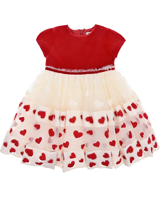 Купить Платье из бархата и органзы Monnalisa детское, Мультиколор, 60%вискоза+40%хлопок, 33%хлопок+27%акрил+26%шерсть+14%полиэстер, 100%полиамид, 100%полиэстер