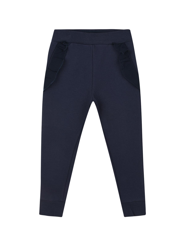 Спортивные брюки с оборками на карманах Monnalisa детские фото