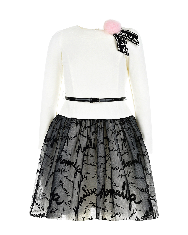 Купить Платье с контрастной юбкой Monnalisa детское, Белый, 60%вискоза+40%хлопок, 100%полиамид, 79%вискоза+18%полиамид+3%эластан, 100%полиэстер
