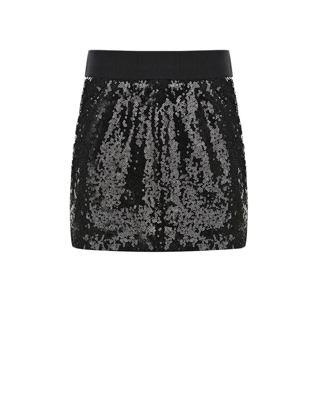 Черная юбка-мини со сплошной вышивкой пайетками Monnalisa  - купить со скидкой