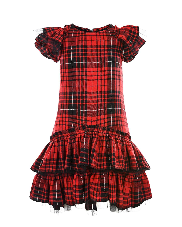 Купить Платье с оборками в шотландскую клетку Monnalisa