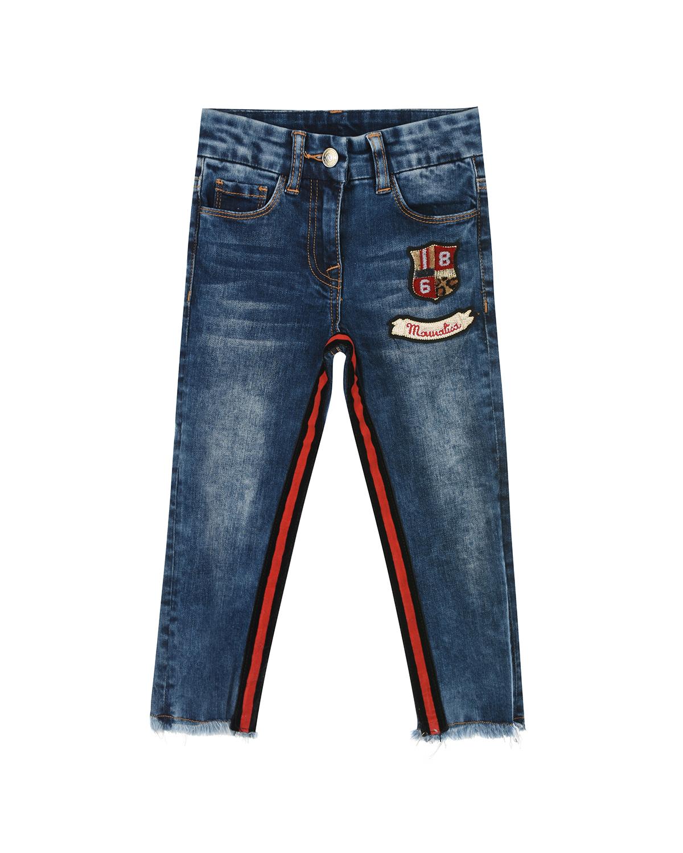 Синие джинсы с патчами Monnalisa детские фото