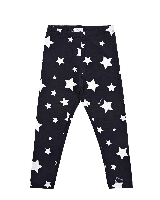 Купить Синие леггинсы со звездами Monnalisa детские, Черный, 95%хлопок+5%эластан