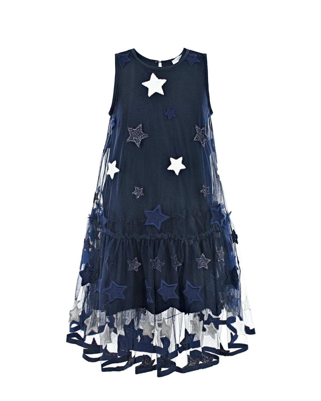 Синее платье без рукавов Monnalisa детское фото