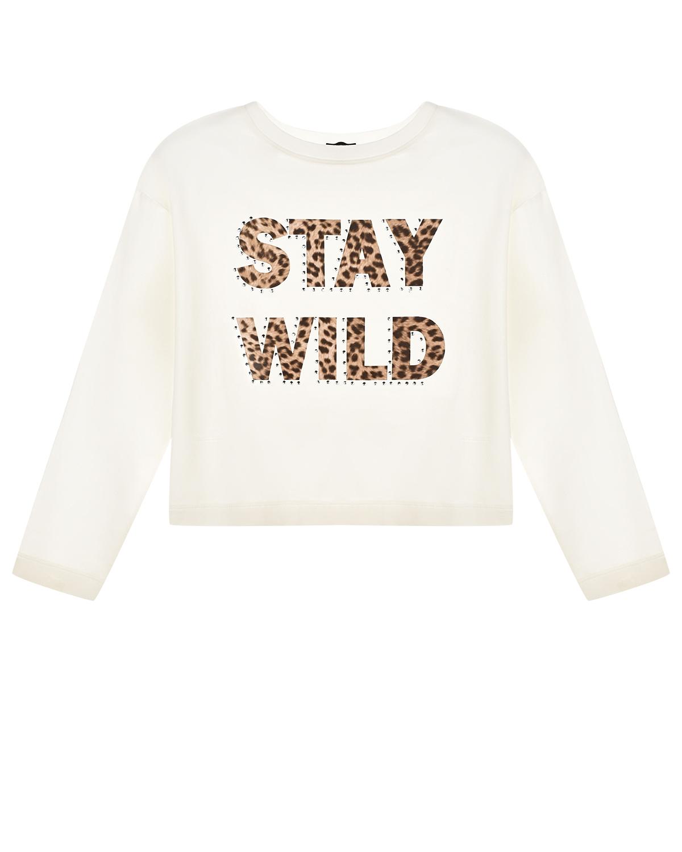 Купить Белая толстовка с леопардовым принтом STAY WILD Monnalisa детская, Белый, 93%хлопок+7%эластан