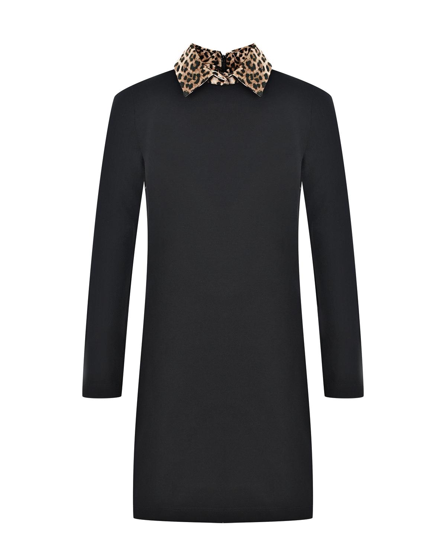 Купить Черное платье с леопардовым воротником Monnalisa детское, Черный, 79%вискоза+18%полиамид+3%эластан, 100%вискоза