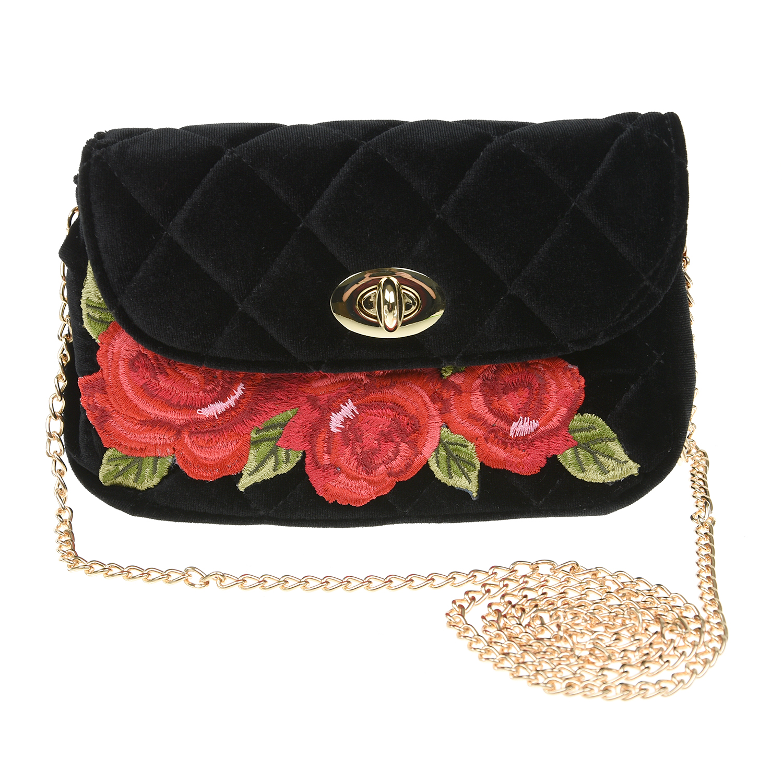 Черная бархатная сумка с вышивкой 12х4 см Monnalisa детская фото