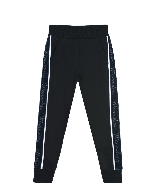 Купить со скидкой Черные спортивные брюки с лампасами Monnalisa детские
