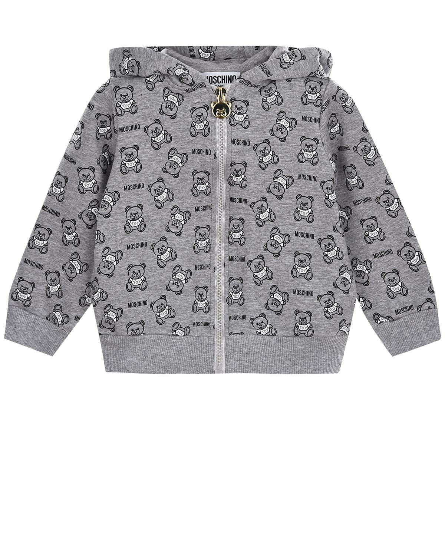 Серая спортивная куртка на молнии Moschino детская фото