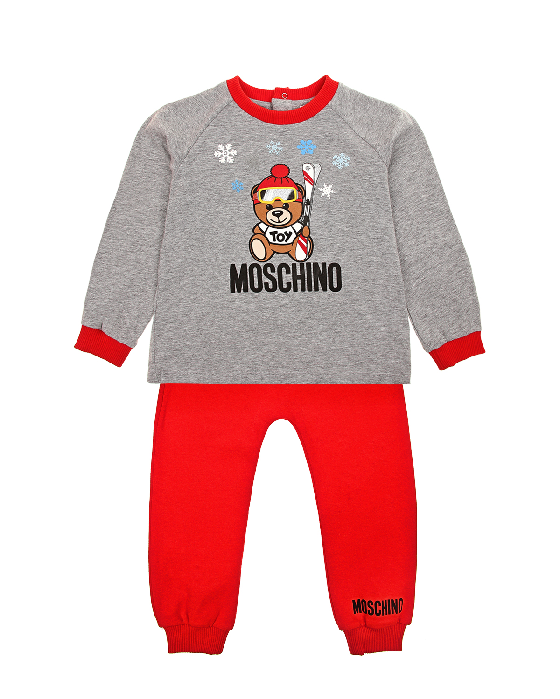 Комлпект из толстовки и красных джоггеров Moschino детский фото