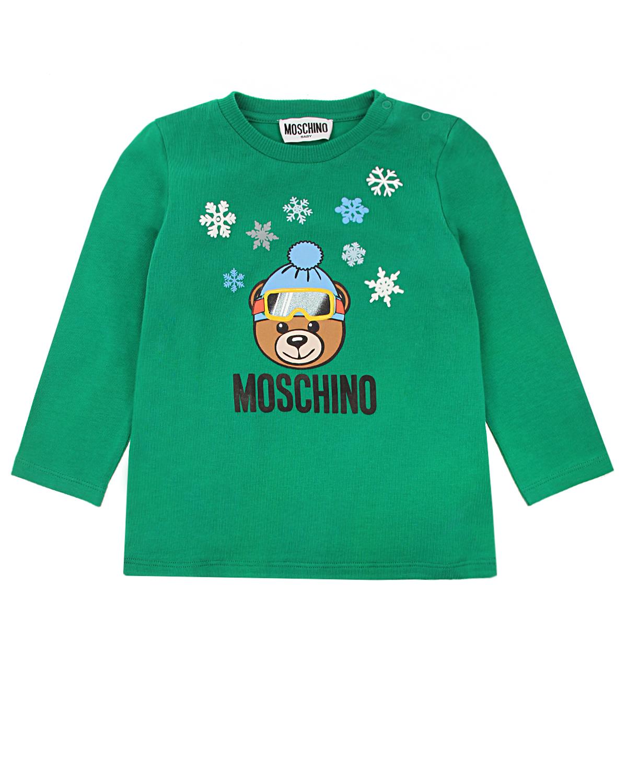 Зеленая толстовка с принтом Moschino детская фото