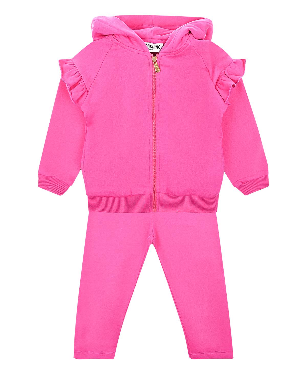 Купить Спортивный костюм с оборками Moschino детский, Розовый, 95%хлопок+5%эластан, 97%хлопок+3%эластан, 55%полиамид+45%металл
