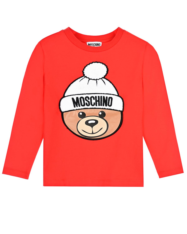 Купить Красная толстовка с принтом и логотипом Moschino детская, Красный, 95%хлопок+5%эластан, 96%хлопок+4%эластан, 85%акрил+15%шерсть, 100%полиэстер