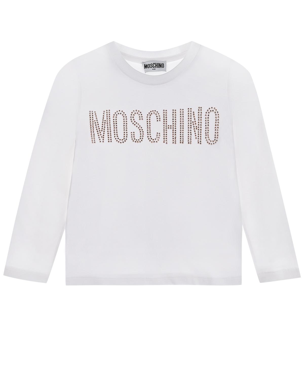 Белая толстовка с логотипом и стразами Moschino детская фото