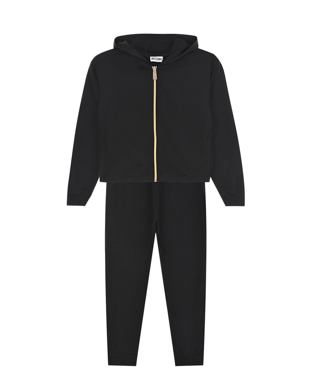 Купить Черный спортивный костюм из толстовки и брюк Moschino детский, 95%хлопок+5%эластан, 97%хлопок+3%эластан, 55%полиамид+45%металлиз.волокна