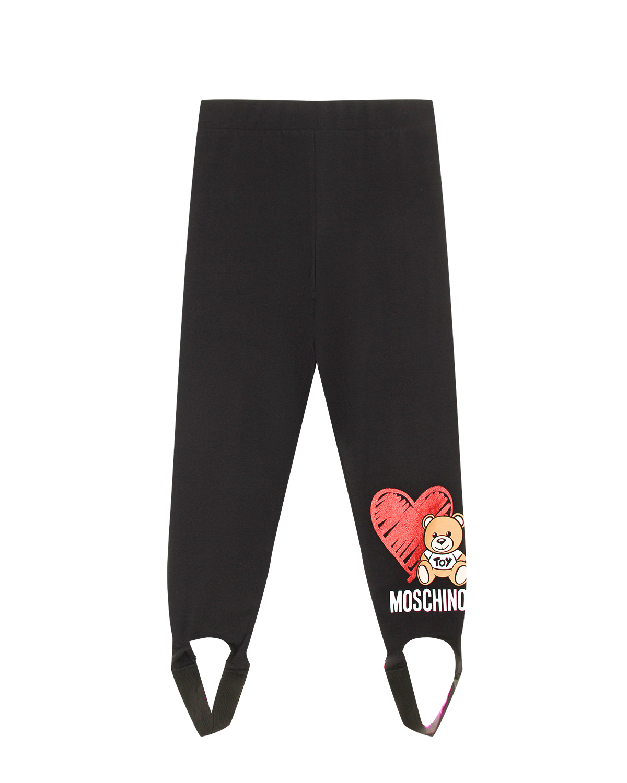 Купить Черные леггинсы со штрипками Moschino детские, Черный, 95%хлопок+5%эластан
