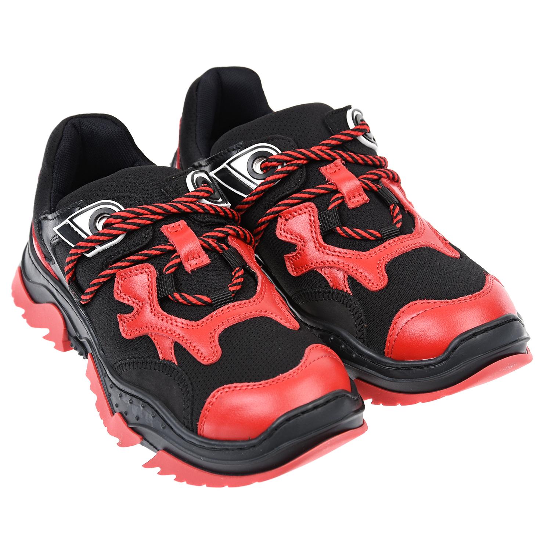 Купить Черные кроссовки с красными вставками №21 детские, Черный, верх:100%нат.кожа, отделка текстиль(92%полиэстер+8%спандекс), подкладка:текстиль, нат.кожа, подошва:100%резина