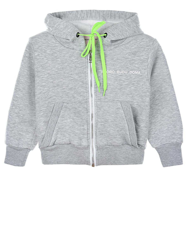 Купить Серая спортивная куртка с принтом skoro budu doma Natasha Zinko детская, Серый, 60%хлопок+40%полиэстер