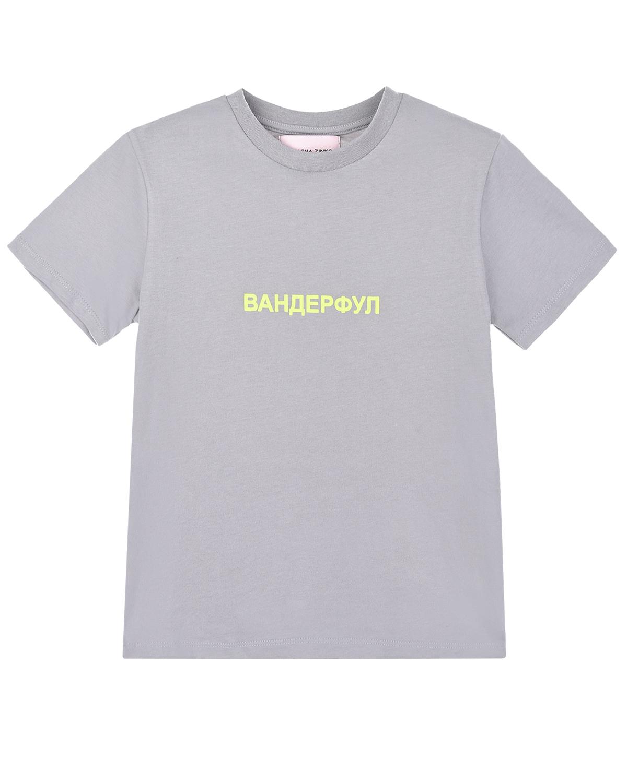 """Серая футболка с принтом """"ВАНДЕРФУЛ"""" Natasha Zinko детская фото"""