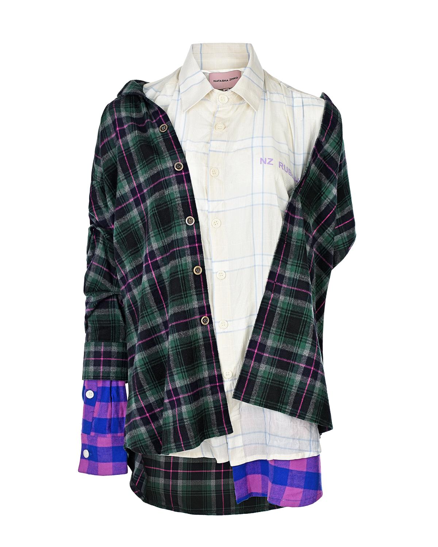 Купить Многослойная рубашка в клетку Natasha Zinko, Мультиколор, 99%хлопок+1%полиуретан, 100%хлопок