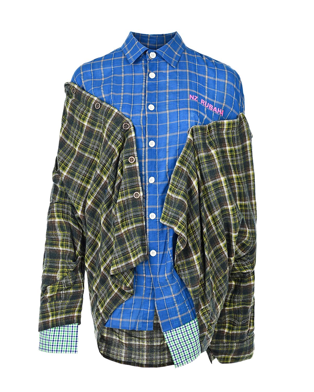 Купить Многослойная рубашка оверсайз в клетку Natasha Zinko, Мультиколор, 44%тенсель+37%хлопок+19%эластан, 49%шерсть+35%хлопок+16%полиамид, 100%хлопок