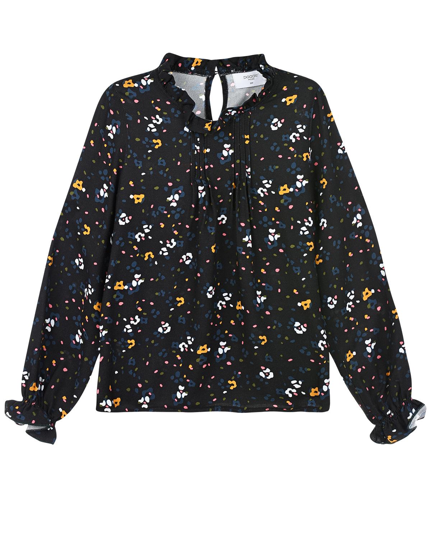 Черная блуза с цветочным принтом Paade Mode детская фото