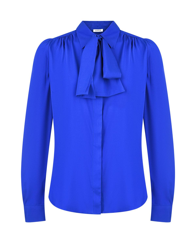 Купить Синяя шелковая блуза с бантом Parosh
