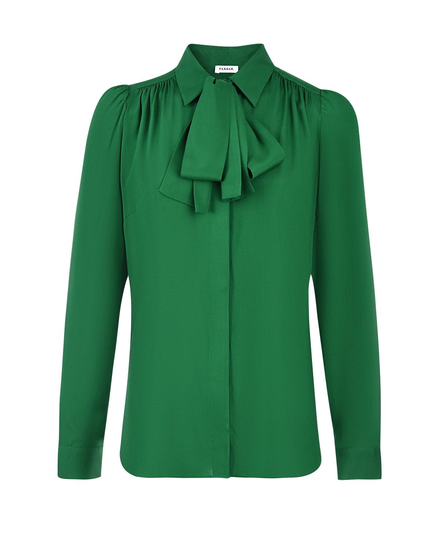 Купить Зеленая шелковая блуза с бантом Parosh
