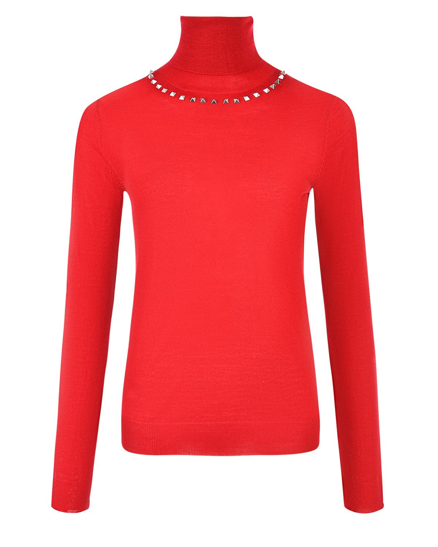 Красный джемпер из шерсти с заклепками Parosh фото