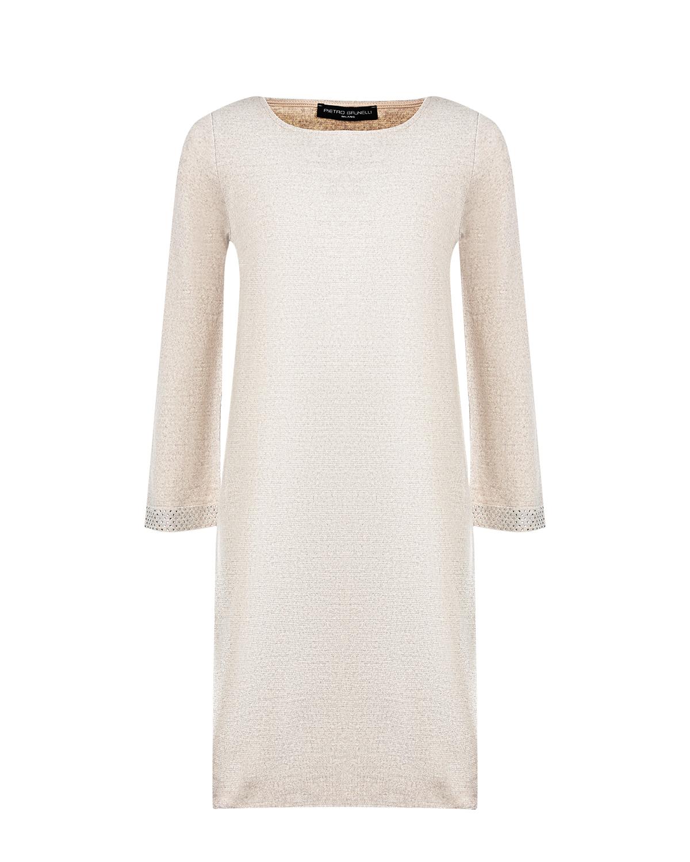 Бежевое платье из смесовой шерсти Pietro Brunelli бежевого цвета