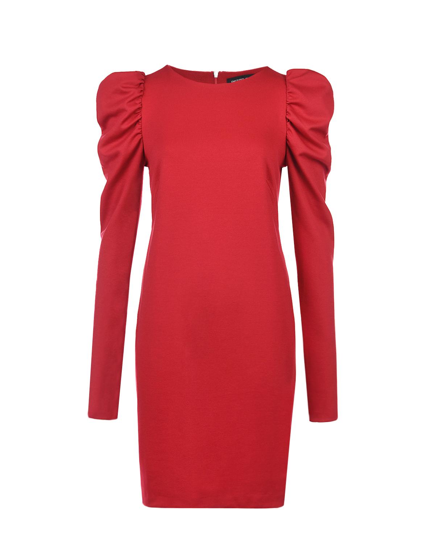 Красное платье с объемными рукавами Pietro Brunelli красного цвета