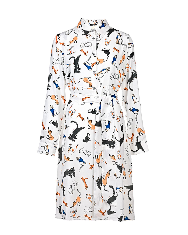 """Платье-рубашка Anne с принтом """"Кошки"""" Pietro Brunelli белого цвета"""