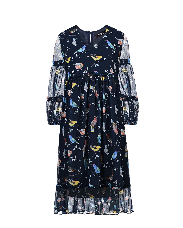 """Платье для беременных с принтом """"птицы"""" Pietro Brunelli Платье для беременных с принтом """"птицы"""" Pietro Brunell синего цвета"""