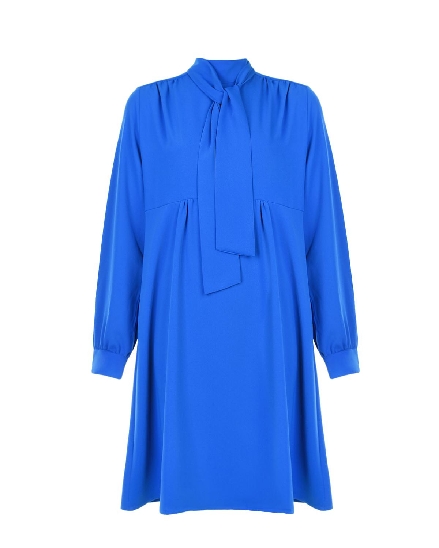 Синее приталенное платье Audrey Pietro Brunelli синего цвета
